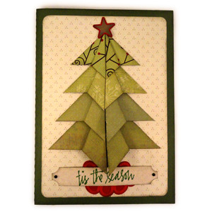 christmas tree folded squares 5x7 card