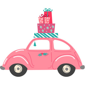 beetle car with christmas presents