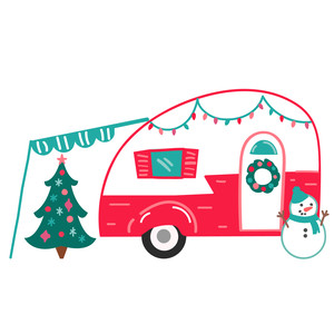 red christmas camper van