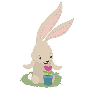 spring bunny with heart flower