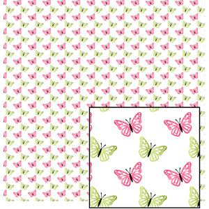 pink and green butterfly pattern