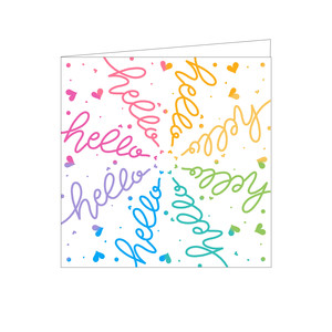 radial rainbow hello card