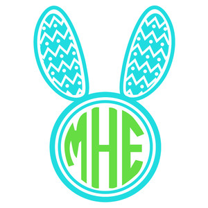 bunny ear chevron monogram frame