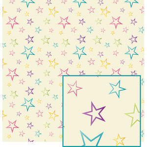 pastel outlined star pattern