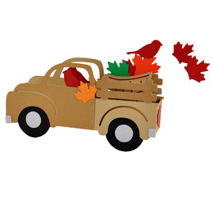 3d fall leaves truck