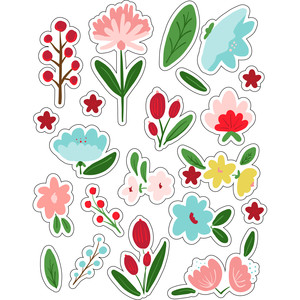 ml hello flowers stickers