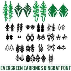 evergreen earrings dingbat font