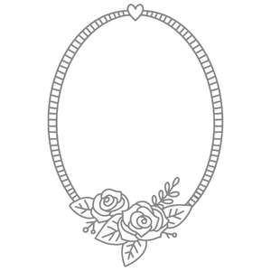 rose bouquet oval frame