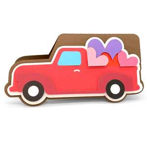red truck and hearts card