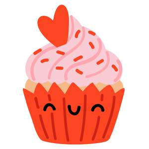 kawaii valentine's day cupcake