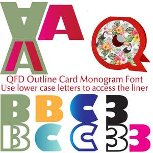 qfd outline card monogram font