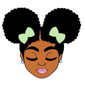 afro puffs teenager girl closed eyes