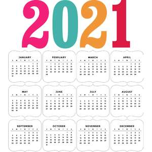 2021 calendar label shapes
