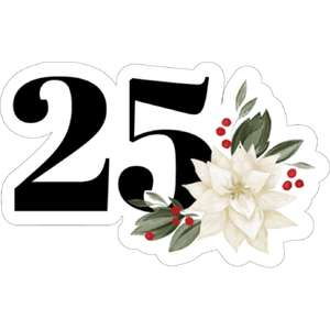 25 and poinsettia