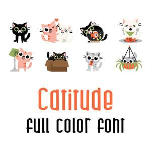 catitude full color font