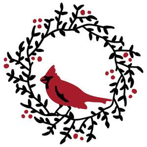 cardinal on mistletoe wreath