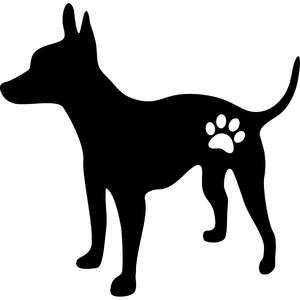 dog and paw silhouette