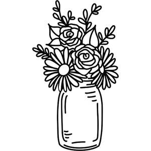 daisies and roses mason jar arrangement