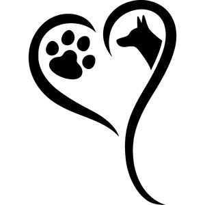 dog paw with heart