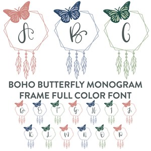 boho butterfly monogram full color font