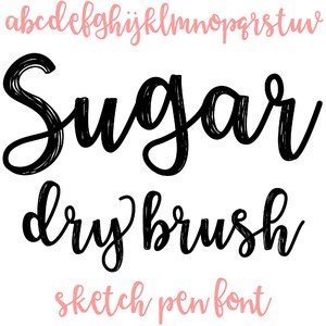 sugar dry brush sketch pen font