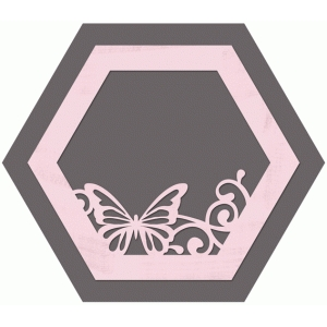 hexagon butterfly layered frame