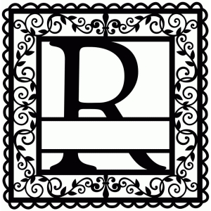 wrought iron vine initial r
