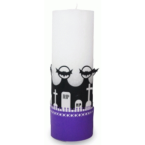 halloween cemetery 3 layered candle wrap