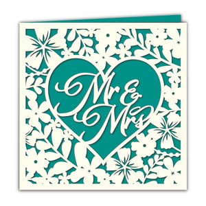 mr&mrs floral wedding card