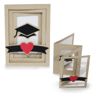 accordion shadow box card - graduation