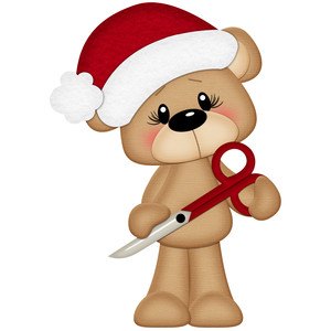 christmas bear with scissors