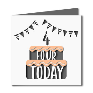 4 today cake cutout birthday card