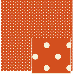 rust with creme polka dot pattern