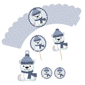 planner polar bear cupcake wrapper and topper