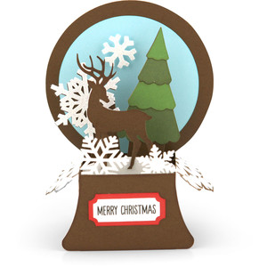 snowglobe box card reindeer
