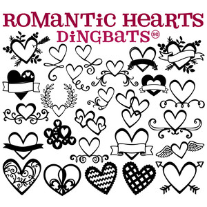 sg romantic hearts dingbats