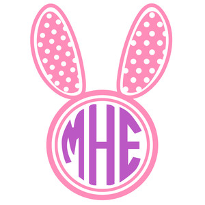 bunny ear dot monogram frame