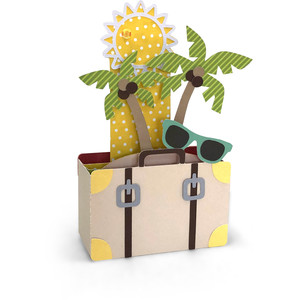 box card tropical suitcase