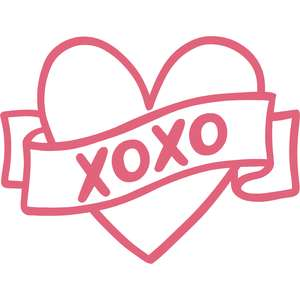 xoxo ribbon banner heart