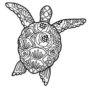 sea turtle floral mandala