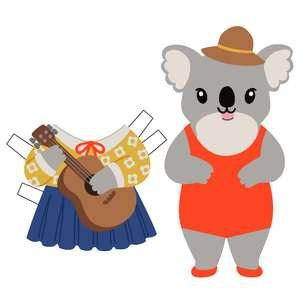 koala with guitar paper doll