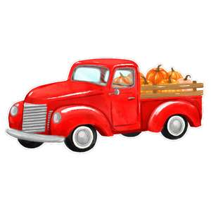 pickup truck with pumpkins