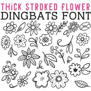 cg thick stroked flower dingbats