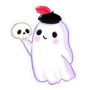 kawaii ghost with skull