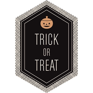 trick or treat pumpkin label / tag