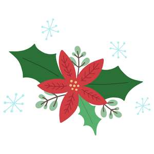 layered poinsettia with snowflakes