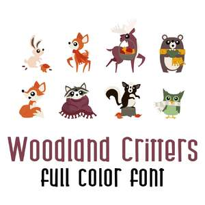 woodland critters full color font