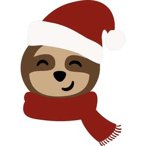 christmas sloth with santa hat and scarf