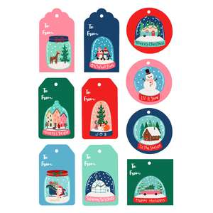 snow globe christmas gift tags