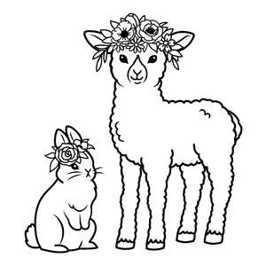 lamb and bunny with flower